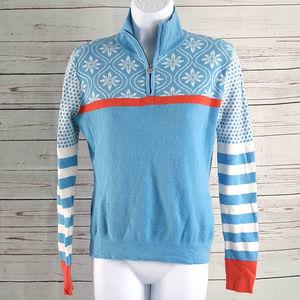 Neve blue white wool 1/4 zip dot stripe sweater